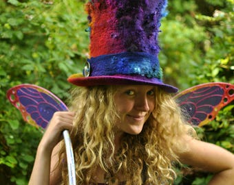 Super tall Top Hat- 'Rainbow Fire' - hand dyed handmade felt hand felted wool - purple pink red gold green multicolor - CUSTOM ORDER ARtWeAR