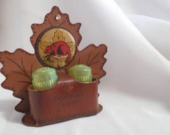 Vintage Maple Leaf and Beaver Canada Salt and Pepper Shakers with real Leather