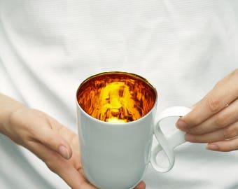 Ceramic Mug porcelain and gold Mobius big mug white excellent gift, handmade porcelain