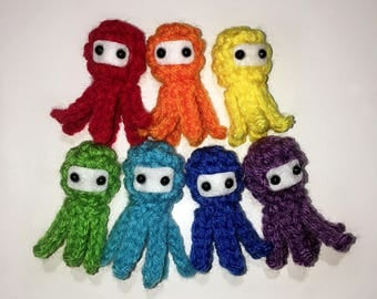 A Whole Rainbow of Ninja Squidlets - 2 inch Plush Squid Octopus Toys, ROYGBIV 7 Colors Red Orange Yellow Green Blue Indigo Violet