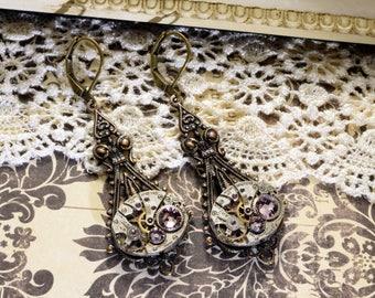 JUNE Steampunk Earrings STEAMPUNK JEWELRY Alexandrite Steampunk Watch Earrings Antique Brass Steampunk Wedding Jewelry VictorianCuriosities