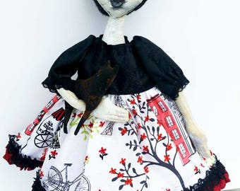 Primitive Painted Art Dolls  / Ana Bella / Art Doll  / Portrait Painting / Primitive Dolls / Easter Gifts For Her/ Canvas and Doll