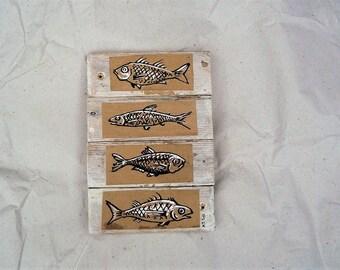 fish painting, pale white wood decor, kitchen art, wall art
