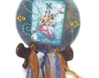 Hindu Goddess Art, Goddess Saraswati,  Wall Art, Hindu Wall Art, Indian Wall Art, Saraswathi Goddess, Wall Magnet, Wisdom Goddess, Magnet