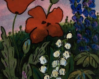 Red Poppies with Lily of the Valley, Original hand painted ceramic tile