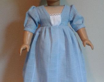 Regency c. 1812 Pastel Blue Linen Dress  for AG Caroline or 18 Inch Doll