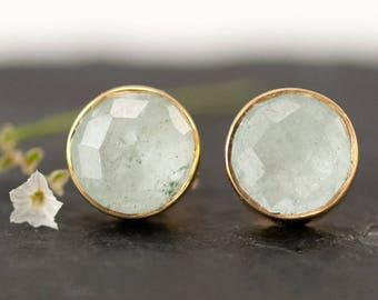 Natural Aquamarine Stud Earrings, March Birthstone Jewelry, Gold Stud Earrings, Gemstone Studs, Simple Stud Earrings, Trending Earrings