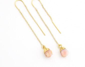 Pink Opal Earrings, Genuine Opal Threader Earrings, Dainty Chain Earrings, Peach Earrings Dangle, October Birthstone Gift, Bridal Party Gift