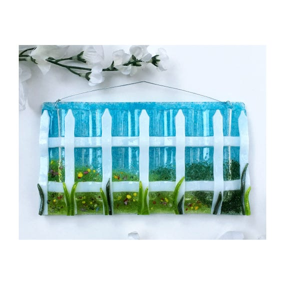 Large Horizontal Medium Fence with Grass. Wall Art, Fused Glass, Wall Vase, Glass Pocket.