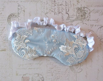 Bridal Sleep Mask in Blue, White // Lace & Satin Eye Mask