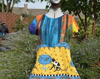 upcycled Tie dye cat smock top