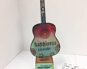 HAPPINESS, GUITAR, guitar art, happy place, music lover, musician, songwriter, wedding gift, boho, memories, nostalgia, novelty, thankful