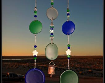 Sea glass wind chime, glass bottle bottoms, round glass mobile, starfish wind chime, hanging beach glass, beach glass mobile, beaded chime
