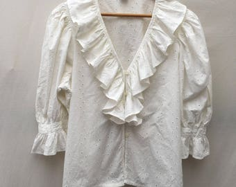 Size 16 White cotton folk blouse in broderie anglais