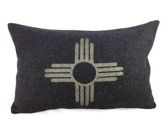 READY TO SHIP: Zia Symbol / New Mexico State Flag Pillow Cover - Charcoal Wool Military Blanket & Champagne Metallic (add'l colors avail)
