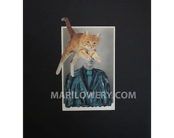 Surreal Art, One of a Kind Mixed Media Paper Collage, 8.5 x 11 Inch Altered Vintage Photo of Man with Orange Cat