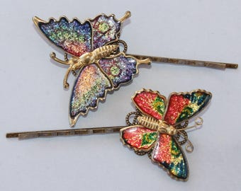 NEW Vintage Butterfly Bobby Pins,Set of Two,Colorful Rainbow Butterfly Hair Pins,Golden Butterfly,Glitter,Colorful,Retro,Boho,Nature,Gift