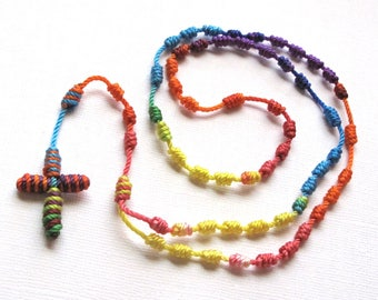 Knotted Rosary•Kid's Cord Rosary•Colorful Twine Rosary Necklace•Catholic Gift•Teen Rosary•Confirmation•First Communion•KN0024•OURLADYBeads
