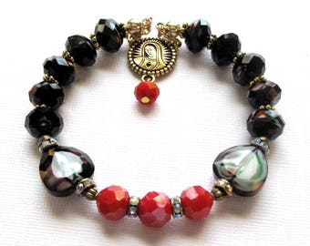 Rosary Bracelet,Black-Red Glass One-Decade Rosary Bracelet,Catholic Jewelry,Mother's Gift,Godmother,Confirmation Gift,OurLadyBeads,#1D174