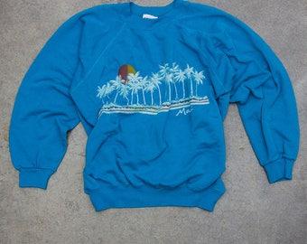 Maui Sweatshirt Rare Vintage Blue Hawaii Fleece Size 50/50 Poly Cotton Blend Made in USA XL 7NN