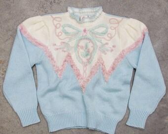 Pastel 1980s Sweater Iridescent Fibers Bow + Shoulder Pads Vintage Jumper Size LARGE 7ND