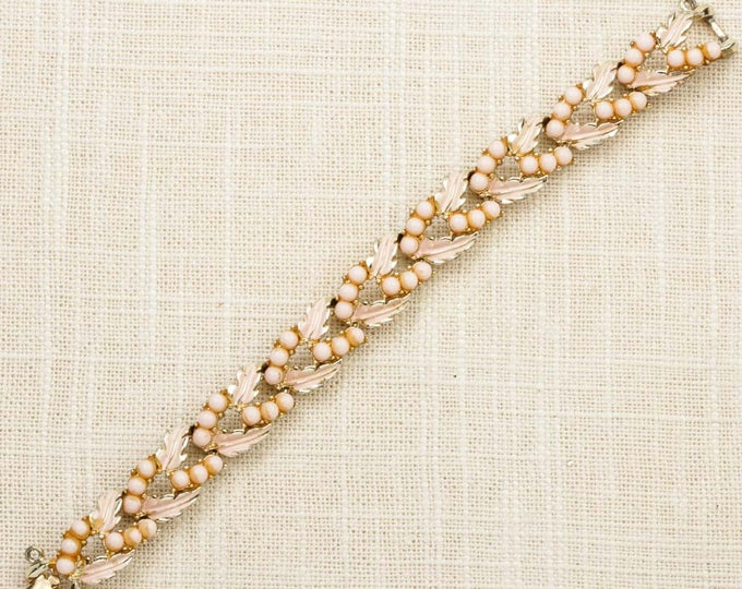 Vintage Bracelet Leaves Pink Coro Gold Chain Costume Jewelry Enamel Beads Pearls 7J