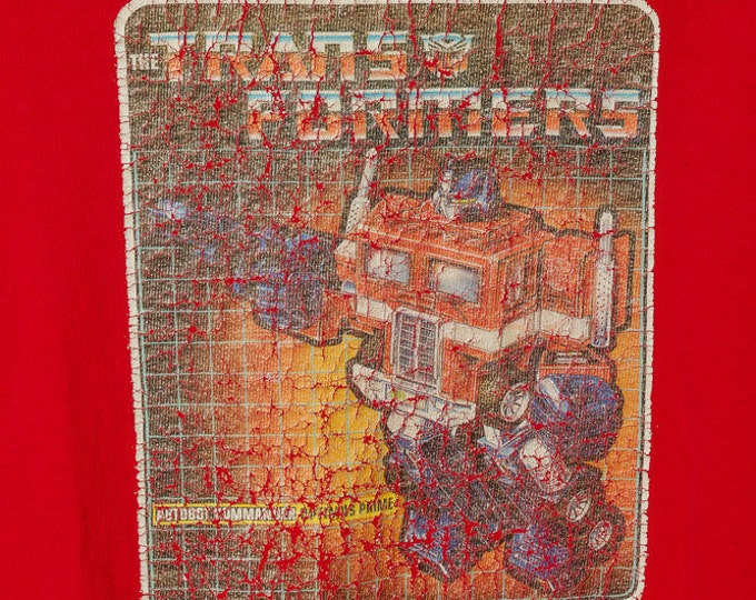 Medium Vintage Red Distressed Transformers T-shirt | SALE 5AA