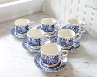 Vintage Set Blue Willow Cups and Saucers, Set of Six, English Ironstone, Churchill