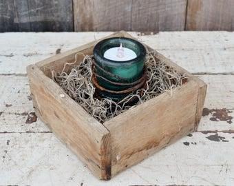 Vintage Insulator Candle Holder Teal Blue Glass Primitive Rustic Wood Box Metal Bed Spring Weathered Rusty Tea Light Holder