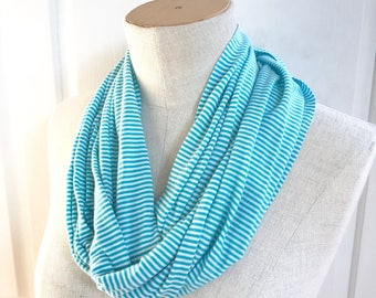 SALE Stretch Jersey Infinity Scarf. Turquoise and White Stripe.