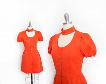 Vintage 1960s Dress - Mini Mod Keyhole Neck Shirtfront Orange Poly Knit - Small