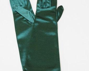 Emerald Green Satin Above Elbo Ladies Gloves