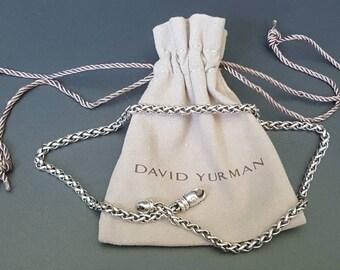 "David Yurman Sterling Wheat Necklace 4mm Wide 16"" Long"