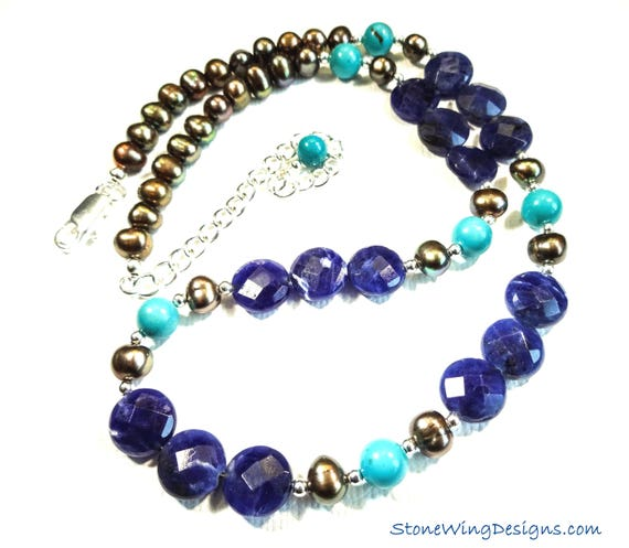 Sodalite, Turquoise and Pearl Necklace