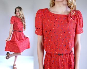 vtg 80s Red CONFETTI PRINT dolly DRESS Medium/Large secretary colorful indie boho preppy puff sleeve