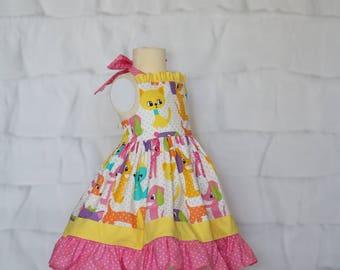 Furry Friends Girls Cotton Dress