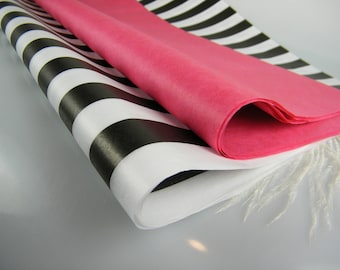 Hot Pink & Black Stripe Tissue Paper Sheets | High Fashion Look Gift Wrap | DIY Tassels Flower Supplies | Bachelorette Party | Baby Shower
