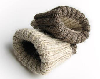 Reversible Ribbing Knitted Warm Boot Cuffs - Hand Knit Bulky Boot Toppers, Leg Warmers - Natural Organic Undyed Thick Wool Yarn