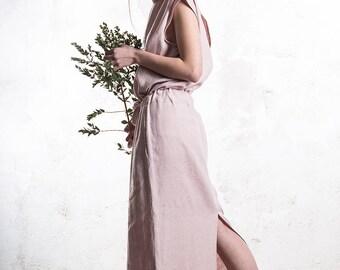 Linen maxi dress, Long linen dress, Dusty rose dress with pockets, LHI linen women's clothing
