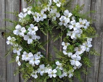 Spring Wreaths, Spring Wreath, Dogwood, Fern Wreath for Early Spring / Year Round