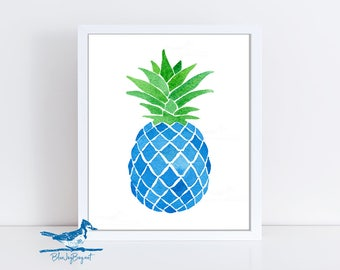 pineapple painting. Blue Art Pineapple Print - Tropical Watercolor Fruit Christmas Gift Idea For Sister Painting T