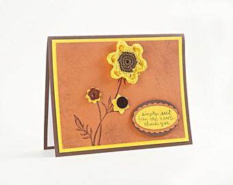 Thank You Card - Appreciation Card - Friendship - Crochet Flowers - Gold - Unique Handmade Card - Card For Friends - Friend Messages