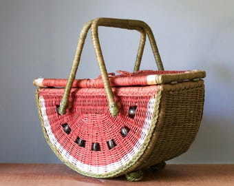 Vintage Watermelon Shaped Wicker Picnic Basket | Celebrate Summer Outdoors