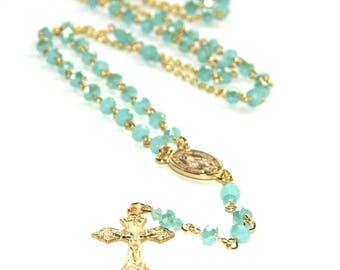 Rosary Necklace, Petite Crystal Catholic Jewelry