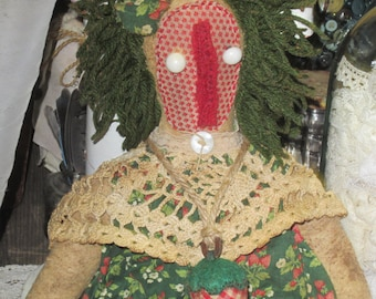 PRIMITIVE STRAWBERRY DOLL~  Made-To-Order~ Shelf Sitter~ Grubby~ Strawberry~ Raggedy Doll~ Farmgirl~ Summer Garden 23 Inches