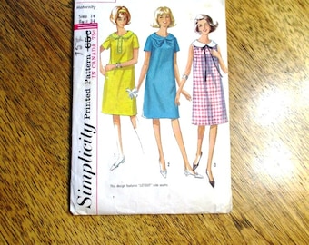 "MOD 1960s A-Line Maternity Dress w/ Peter Pan Collar - Size 14 (Bust 34"") - VINTAGE Sewing Pattern Simplicity 6023"