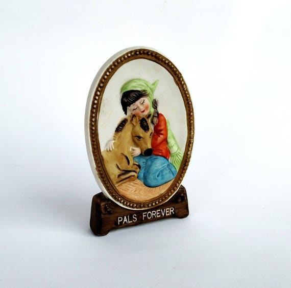 Vintage 1978 Pals Forever Porcelain Figurine with Girl and Horse by Jasco
