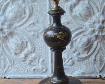 Small Wood Vintage Hand Painted Lamp