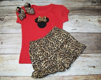 Minnie Mouse Ruffle Short Set / Shirt + Shorts + Bow / Cheetah / Leopard / Disney Vacation / Birthday / Infant / Baby/ Toddler/ Boutique