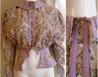 Vintage 1900s Blouse Edwardian Cotton Paisley Gibson Girl Pidgeon Breast